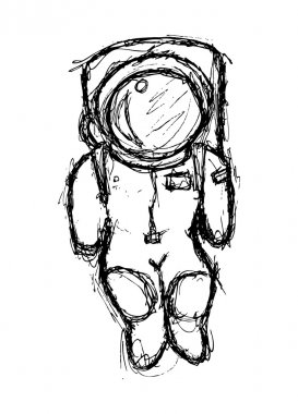 Astronaut doodle isolated on white background