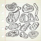 Fényképek készlet-ból hús doodle stílusban