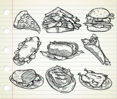 Set of hand drawn junk food icon