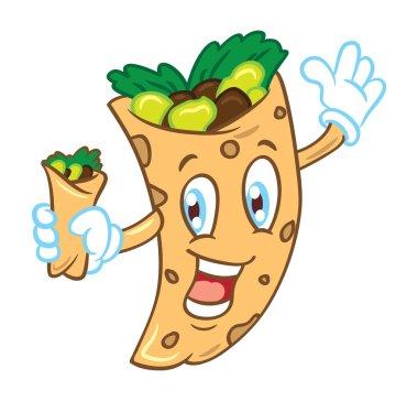 Cartoon burrito isolated on white background clip art vector