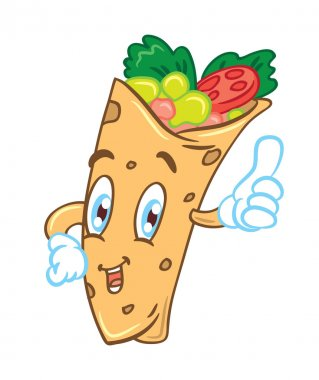 Cartoon burrito isolated on white background stock vector