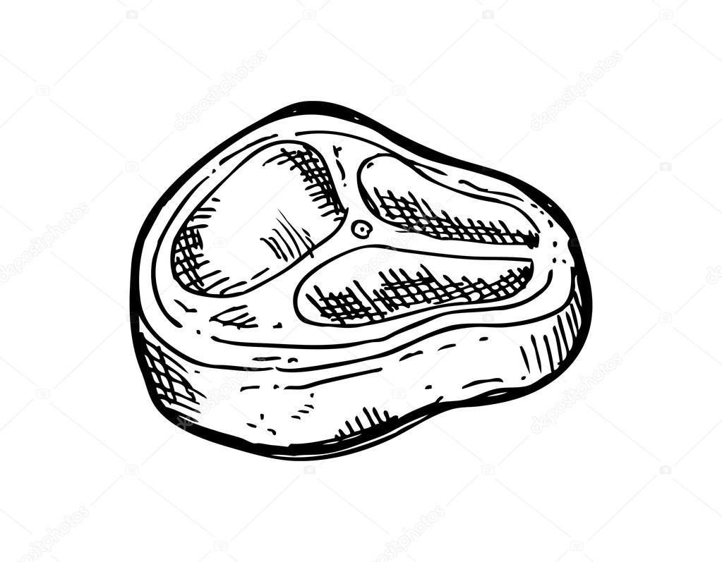 Кусок мяса черно белая картинка
