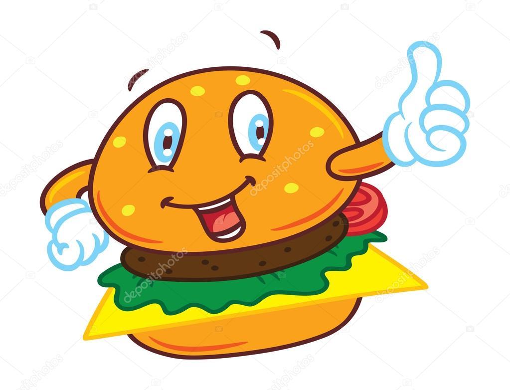 Hamburger di cartone animato con espressione felice