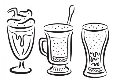 Set of coffee with whipped cream icon in doodle style