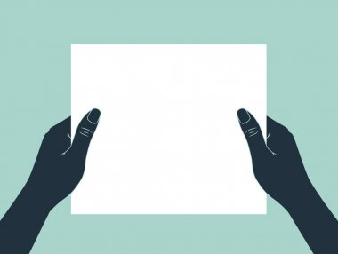 Hands holding blank paper