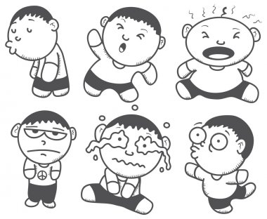 Cute boy with various expression