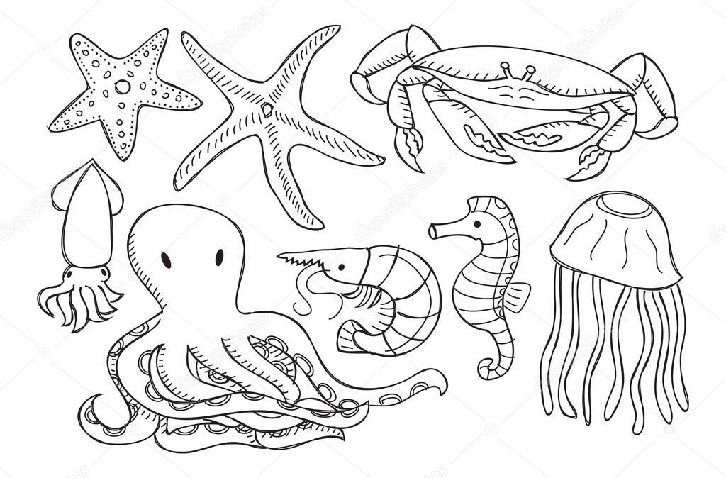 Insieme di animali del mare vettoriali stock mhatzapa - Clip art animali marini ...