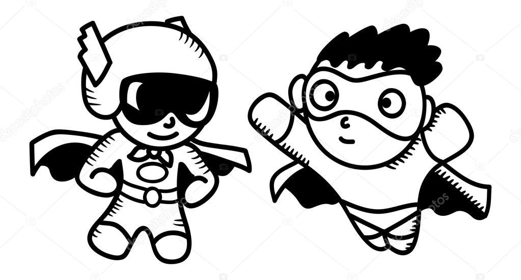 conjunto de dibujos animados super héroe — Vector de stock ...