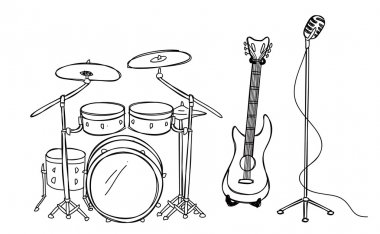 Drum guitar and microphone