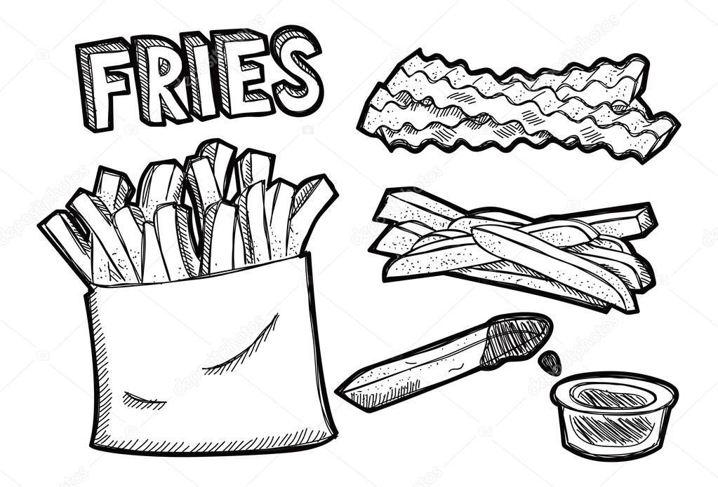 French fries doodle