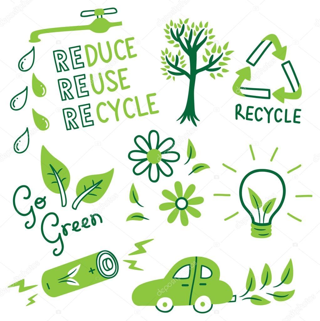 Go green concept doodle