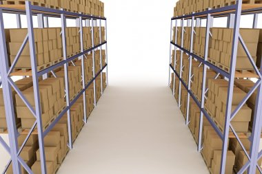 Distribution warehouse with cardboard boxes. 3d illustration stock vector
