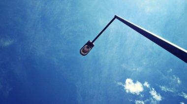 street light with blue sky