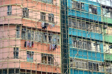 bamboo scaffolding of repairing old building