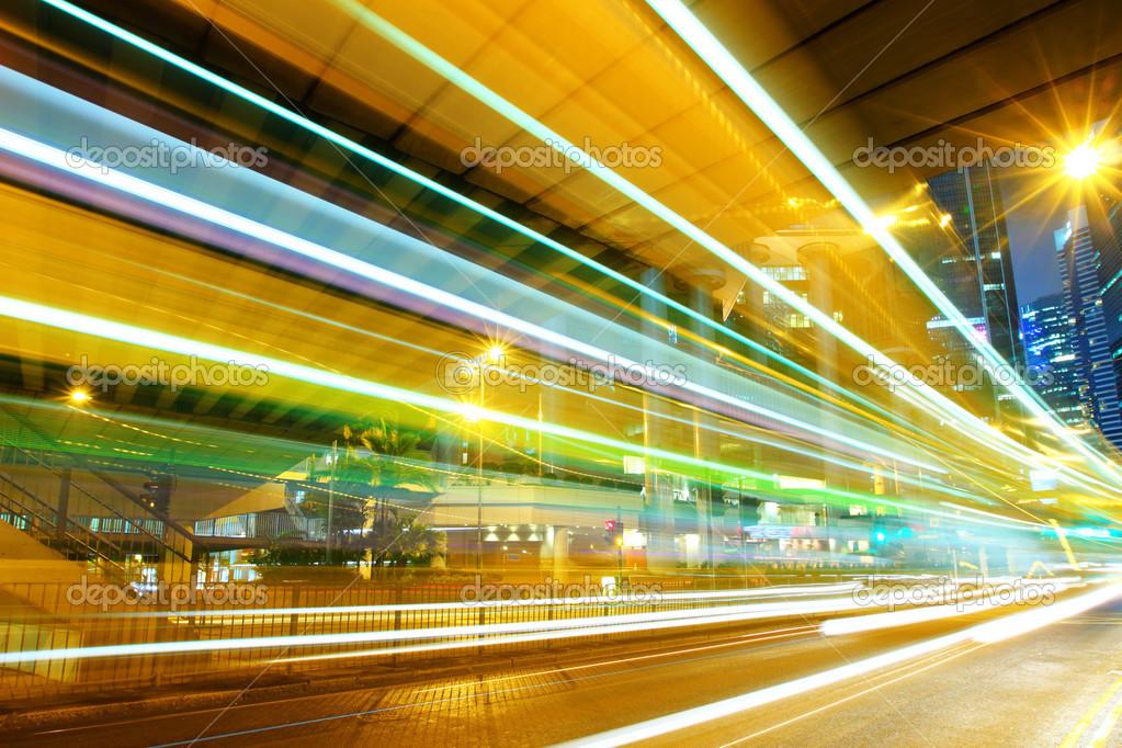 Фотообои moving car with blur light through city at night