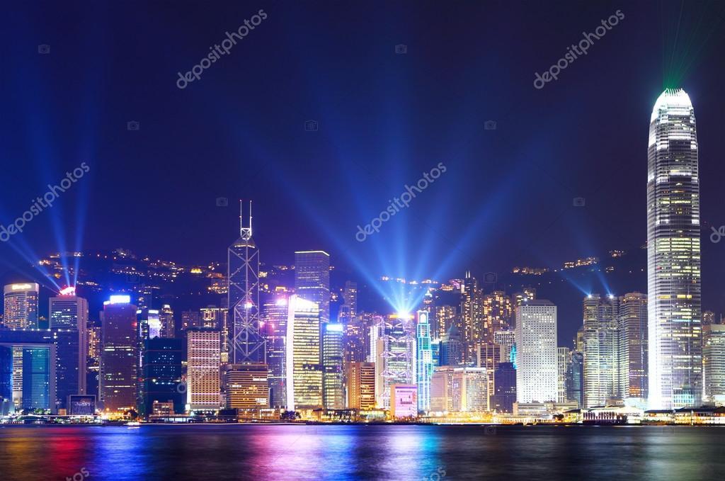 Hong Kong city skyline view at night