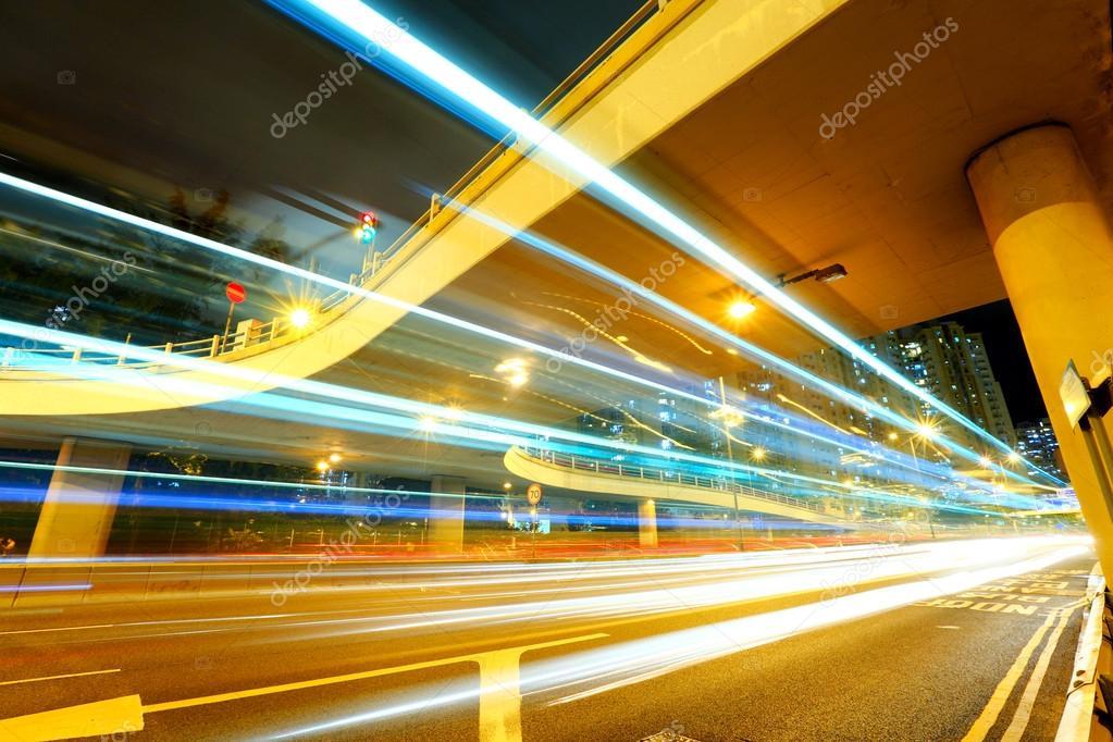 Фотообои Traffic under the bridge at night