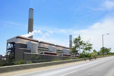 Electricity plant with asphalt road
