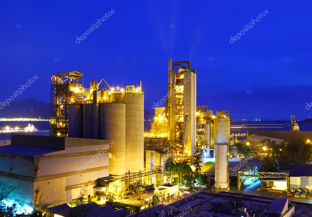 Industrial plant at night stock vector