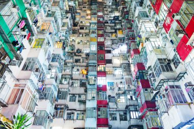 Overcrowded building in Hong Kong