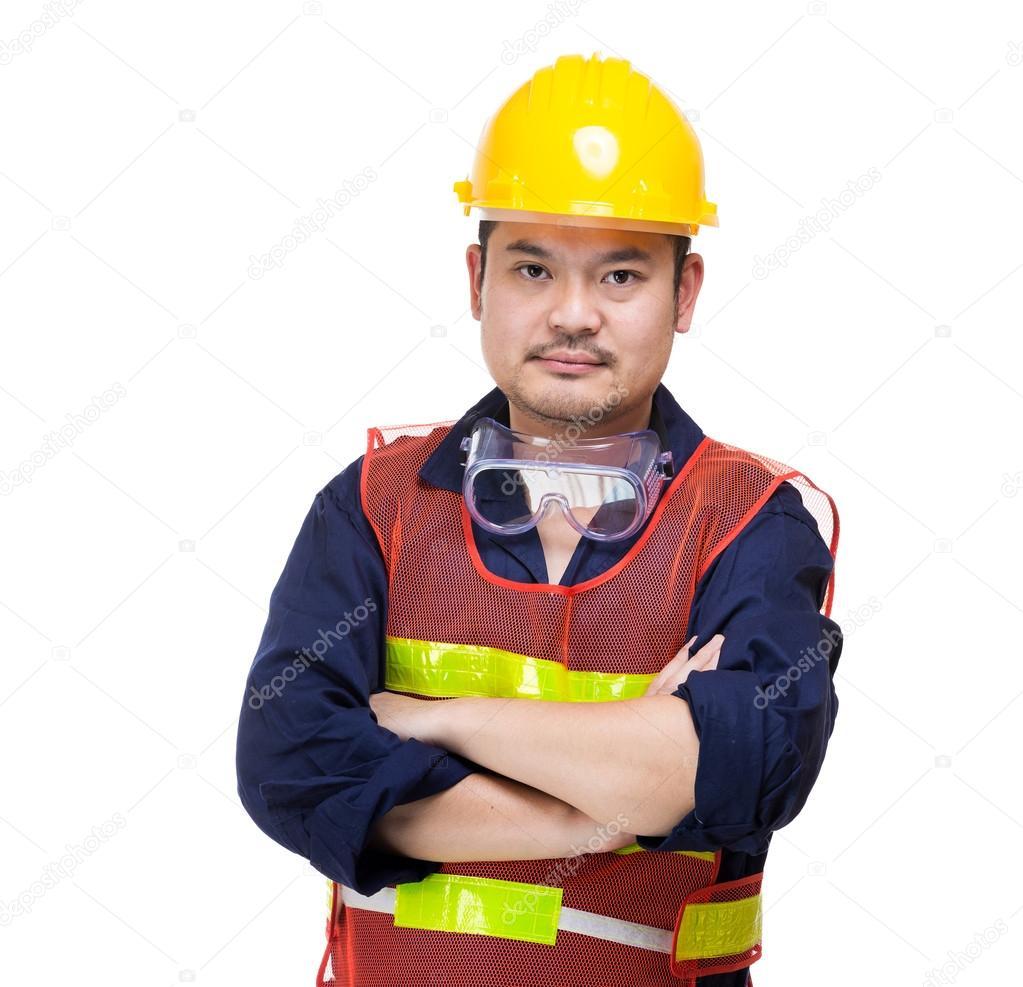 Retrato de trabajador de construcción asiática — Foto de stock ...