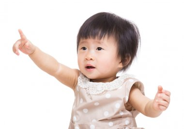 Asian baby girl finger point up