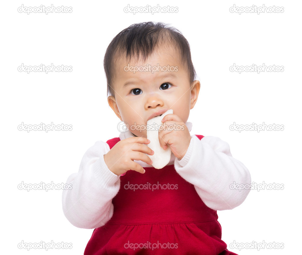 asian baby eating