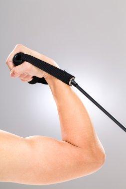 Biceps using resistance band