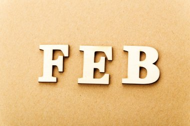Wooden text for February