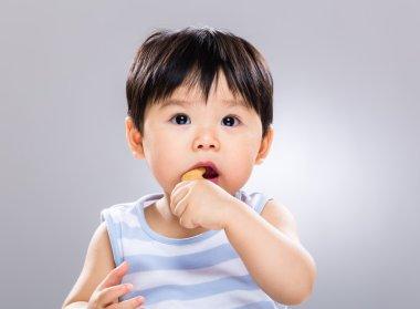 Baby boy eat biscuit