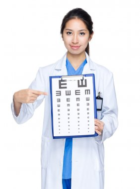 Optician point to eye chart