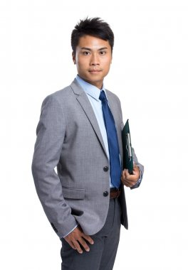 Asian business man with clipboard