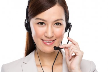 Customer services operator with headset stock vector