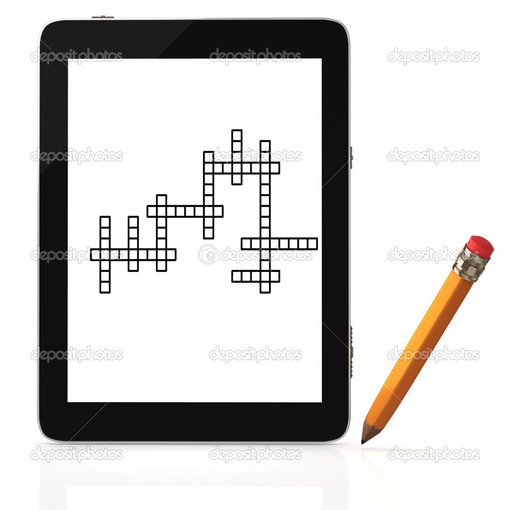 tablet pc mit kreuzworträtsel auf bildschirm — stockfoto © aleksvf