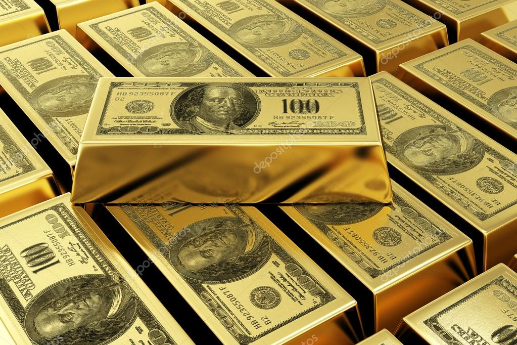 Gold Bars With Dollar Stamp Stock Photo