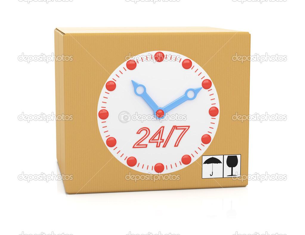 Картонна коробка з циферблата годинника — Стокове фото — білий ... 3eb3f895e864d