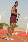 Woman Preparing For Pole Vault
