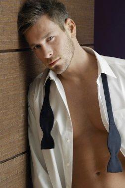 Handsome Man Wearing Unbutton Shirt