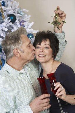 Senior Man Kissing Woman Under Mistletoe