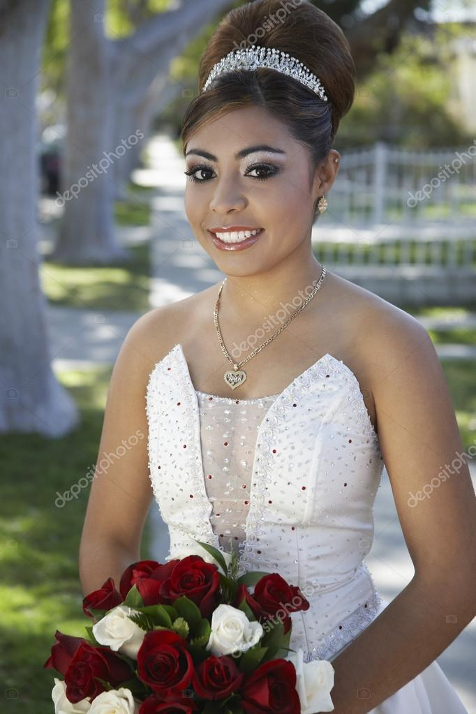 Quinceanera With Flower Bouquet In Lawn — Stock Photo ...