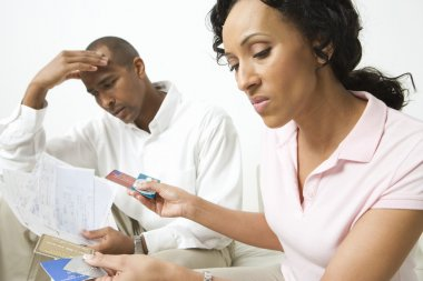 Couple Discussing Credit Card Bills