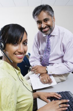 Happy Call Center Employees Working Together