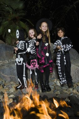 Kids In Halloween costumes Cooking Marshmallows On Campfire