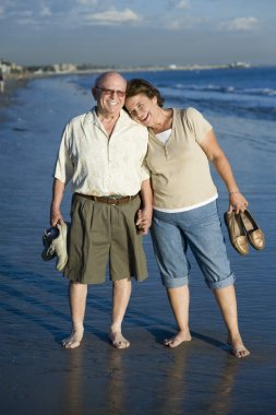 Senior Couple Standing On Beach