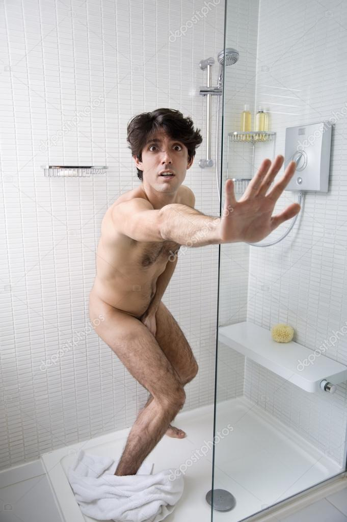 Boy caught naked shower