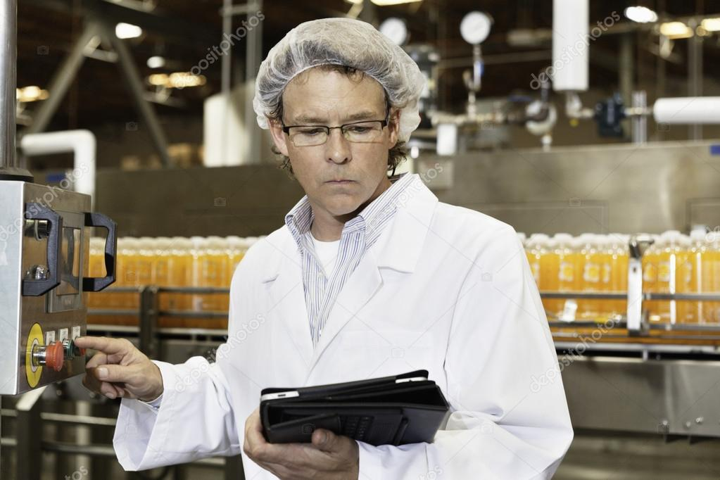 man working in bottling factory