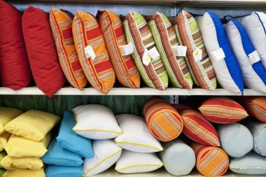 cushions on display in store