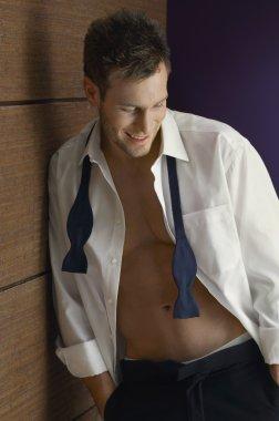 Happy Man Wearing Unbutton Shirt