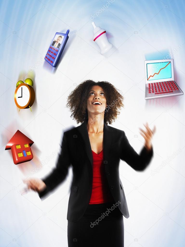 Female Executive Juggling Responsibilities