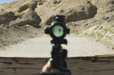 View Of Target Through Rifle Scope